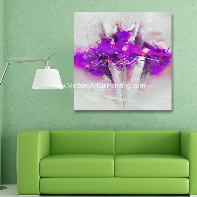 Hand Painted Abstract Canvas Art Painting Purple Dress For White Wall Decor