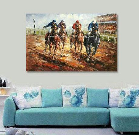 Abstract Palette Knife Oil Painting On Canvas  / Horses Running  Sports Art Painting