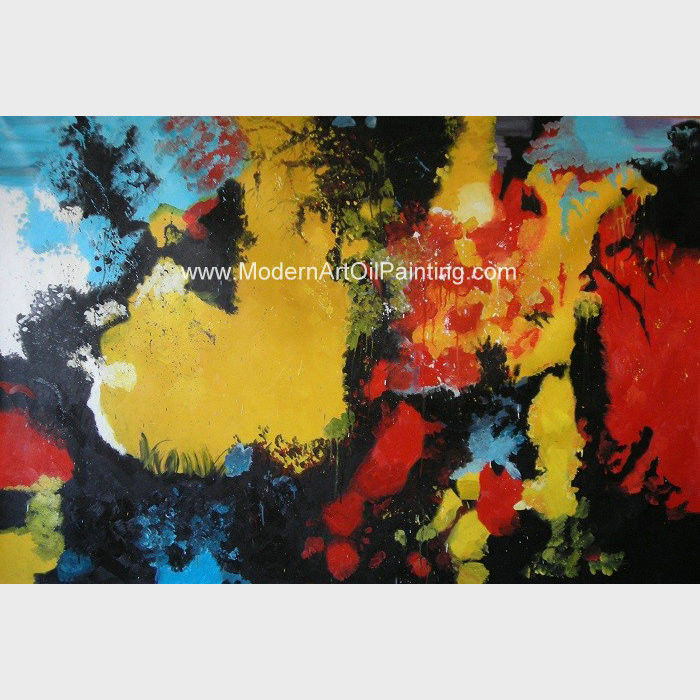 Framed Large Colorful Canvas Art / Abstract Acrylic Painting On Canvas