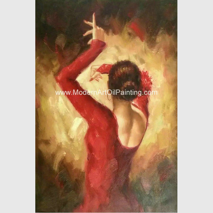 Modern Handmade Flamenco Dancer Oil Painting , Abstract Wall Art ...