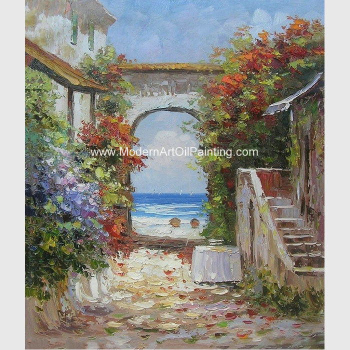 Home & Garden Artist Hand-painted High Quality Impression Landscape Oil Painting On Canvas Seaside And Beach Chair Oil Painting On Canvas
