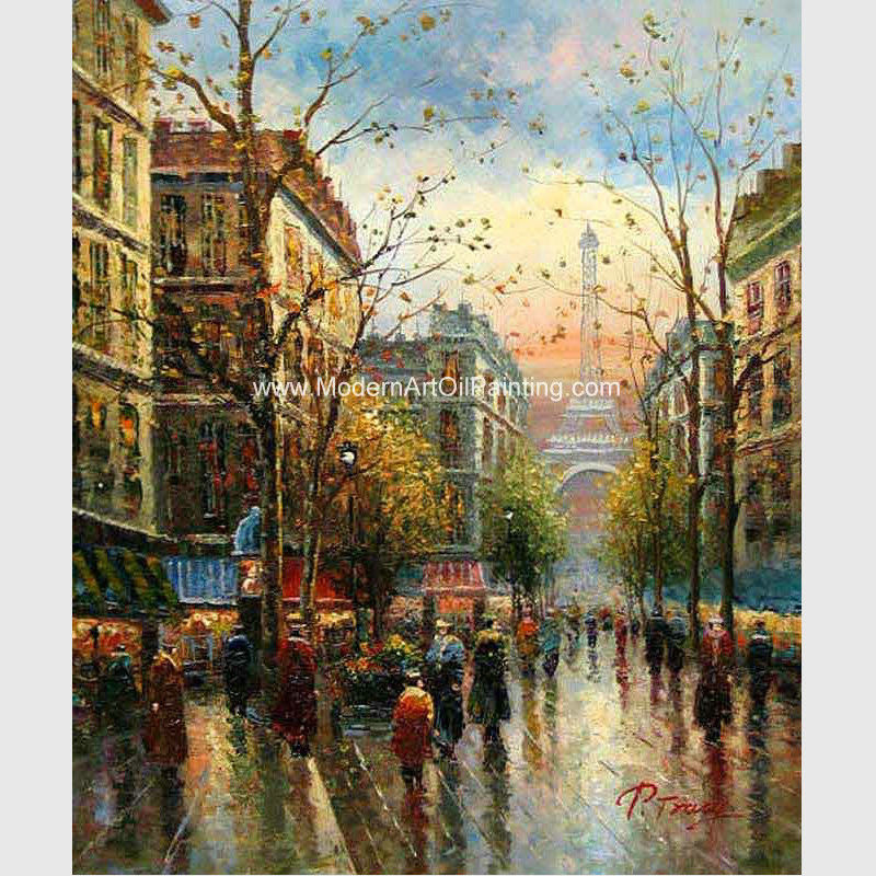 Contemporary Paris Street Scene Canvas Painting Palette Knife Stretching Frame