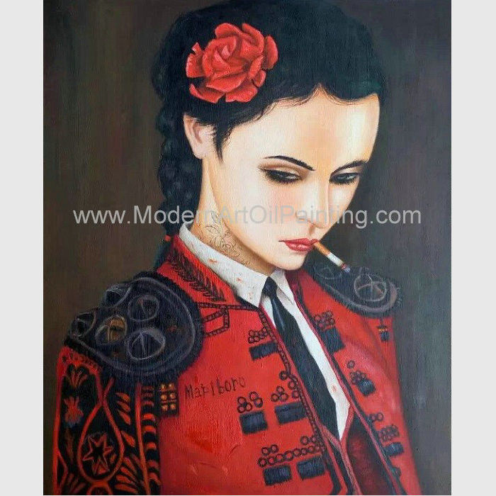 China Human Figure Painting Oil Canvas Smoking Woman In Red Supplier