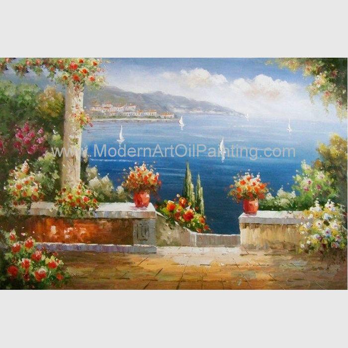 mediterranean garden wall art sea landscape oil painting vacation harbor - Garden Wall Art