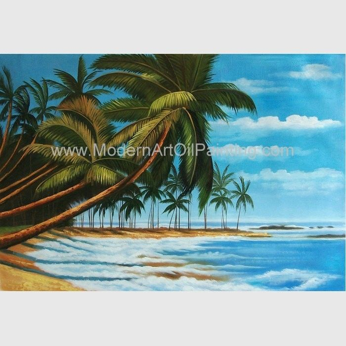 Hand Painted Hawaiian Artwork Paintings , Coconut Trees Landscape Oil Painting On Canvas