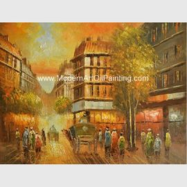 China Framed Paris Oil Painting Eiffel Tower Paris Street Eco-Friendly For Leisure Clubs factory