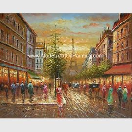 China Thick Oil Paris Street Scene Canvas Painting Gifts Promotion Show Custom Size Color factory