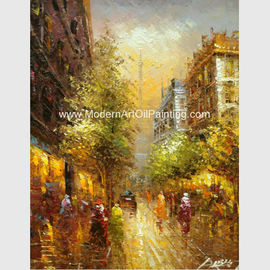 China Impressionism Paris Oil Painting Paris Street Handmade Palette Knife on Canvas factory