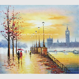 China Hand Painted Paris Oil Painting Acrylic  Scenery Building Eco Friendly For Wall Deco factory